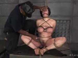 Slaved BDSM fetish babe in bondage having her pussy screwed using sex machine