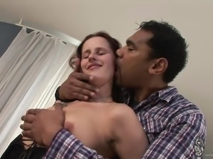 Curvy milf getting pounded hardcore doggystyle in interracial closeup shoot