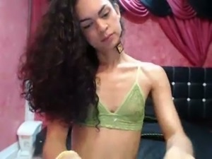 Small tittied shemale girl jerking off in front of camera