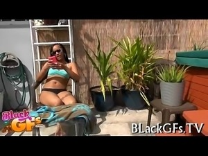 Sexy black babe banged doggystyle