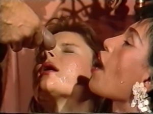 Two freaky and hot classic milfs share dick and piss