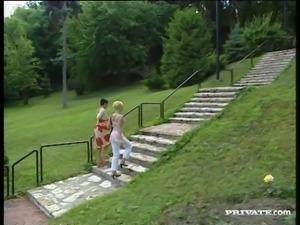 Gina Blonde and Sandra swap cum after ardent group sex