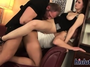 Foxy brunette babe and two bi studs