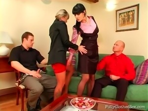 Double date turns into a hot group fuck with voracious booty sluts
