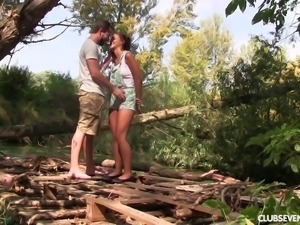 Outdoor blowjob and cock riding before a cum shot for a cute teen