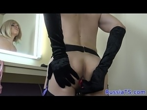 Classy russian trans toying her asshole