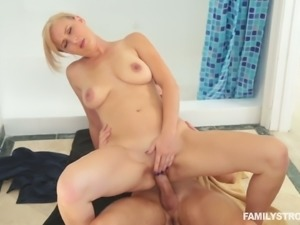 Alice Chambers cheating on her man in the bathroom