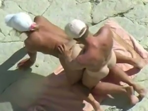 Submissive amateur sexy white wife nailed on the beach