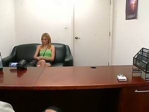 Beautiful skinny schoolgirl Karmen Blaze is trying to get the job of a porn...