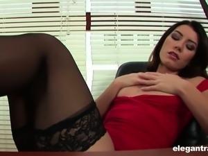 Sexy secretary Betty enjoys masturbating her shaved pussy in the office