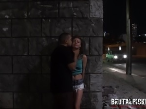 sexy brunette slave is fucked in the street by her master
