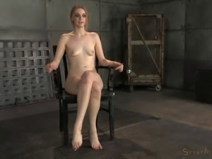 Skinny babe with small tits getting deepthroated in the basement