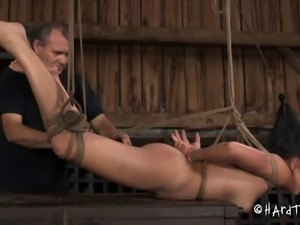 Scream as Asian slave pussy gets drilled with nice toy in BDSM
