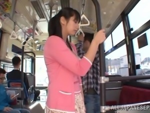 Japanese Hottie Gives A Sexy Blowjob In The City Bus