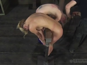 Slave yells while her hot ass gets spanked mercilessly in BDSM