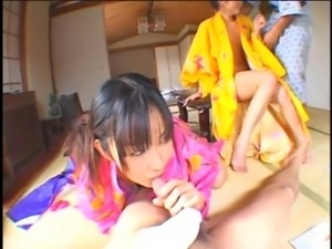 Two Japanese sluts with hairy twats get fucked together (uncensored)