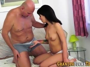 Slut rides oldys cock