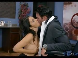 Italian Babe Sucks Cock on the Job