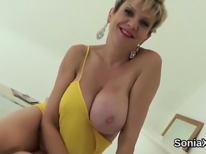 Unfaithful english mature lady sonia flaunts her giant boobi