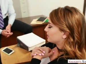 Fabulous and slutty redhead college girl feels horny for her handsome professor
