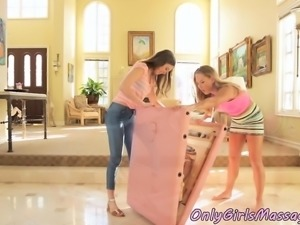 Lesbian teens tribbing pussies after massage