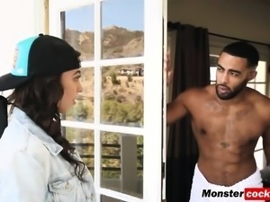 Taylor May takes monster black cock from behind