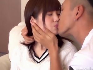 Pale Japanese woman bends over for her sexy boyfriend's dick