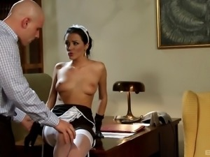 Stunning brunette maid will do anything for a man's dick