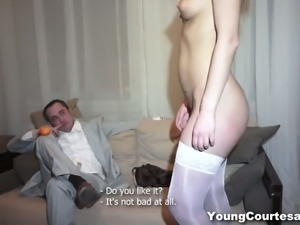 Trashy chick in white stockings gets her cunt fucked for cash
