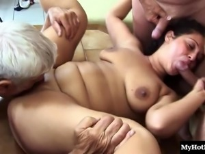 Chubby chick finally gets a sexy gang bang experience