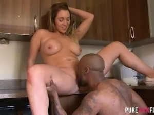 Appetizing European bitch Victoria Summers behaves dirty with black guy at...