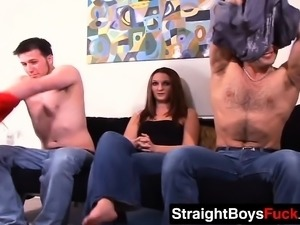 Two jocks have a bisexual threesome with one handsome babe