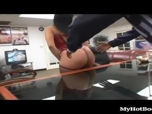 Big ass dame enjoying big black cock hardcore in office