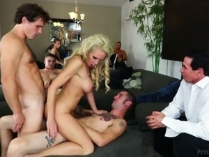 Busty blonde milf in red dress blindfolded and seduced for gangbang