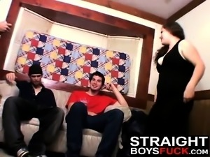 Chubby chick offers her pussy to three nasty dick riders