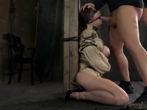 Bondage diva tied upside down then giving big cock blowjob in BDSM