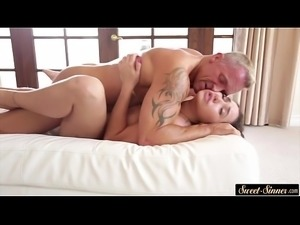 Slutty stepdaughter riding hard cock