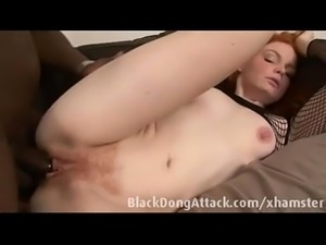 White redhead loves big black cock