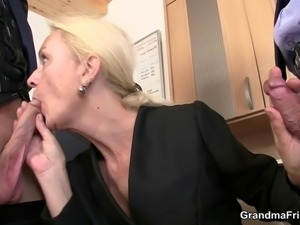 She swallows two cocks for work
