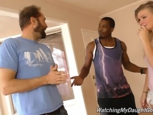 Two black dicks ravish a blonde as her lover watches