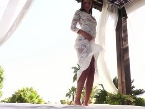 Sensational bronze skin teen model shows her goodies and pisses