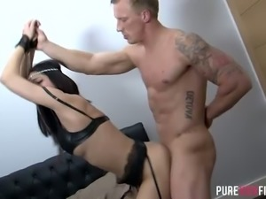 Hot like fire brunette bitch in sexy stockings Julia De Lucia gets banged in...