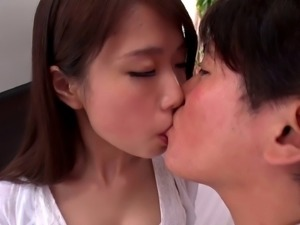 Sweet Japanese chick in a white outfit wants to feel a firm touch