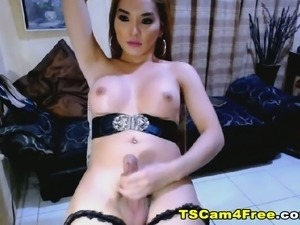 Beautiful Tranny Chick Wildly Strokes Her Cock