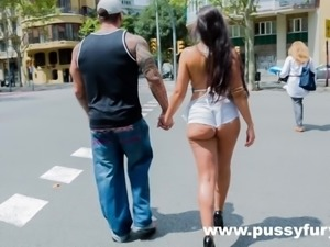 Marta La Croft, big tits and round ass in public, before hard sex