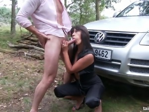 Busty and fine sultry brunette hooks up with a man for sex in the woods