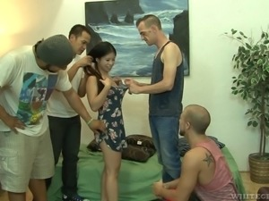 Asian sweet thing gangbanged ruthlessly and insatiably