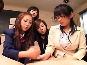 Naughty Japanese girls working their sweet hands on a long