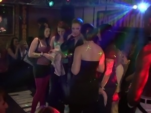 Dancing sluts in the club sucking cocks while the party continues