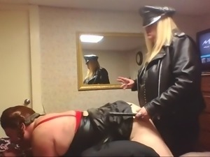 Sissy Sally taking MISTRESS LEATHERS BLACK COCK!